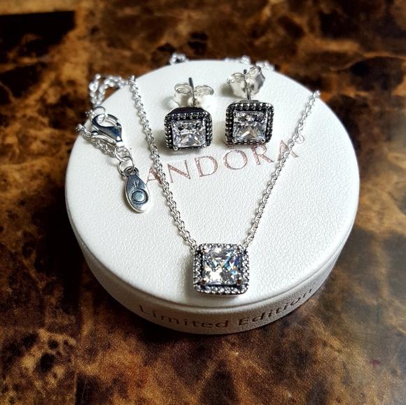 873c244d0 Pandora Jewelry | Authentic Cz Necklace Earrings Set | Poshmark